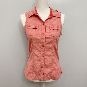 The North Face | Pink Button Down Sleeveless Shirt